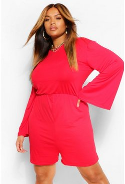 Red Plus Slash Neck Wide Sleeve Playsuit