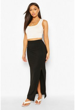 Black Petite Rib Side Split Maxi Skirt