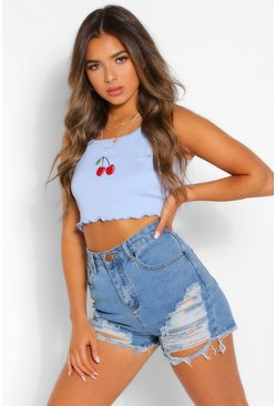 Blue Petite Cherry Motif Rib Crop Top
