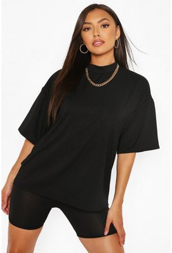 Black Petite Rib T-Shirt And Cycle Shorts Two-Piece