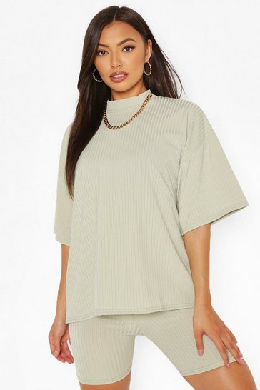 Sage green Petite Rib T-Shirt and Cycle Shorts Co-Ord