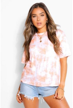 Orange Petite Oversized Tie Dye T-Shirt