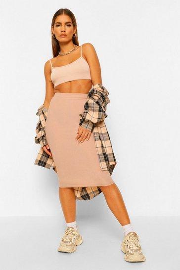 Stone beige Petite Rib Midaxi Skirt