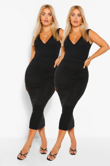 Black Plus 2 Pack Basic Midaxi Skirt