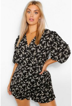 Black Plus Ditsy Floral Puff Sleeve Ruffle Playsuit