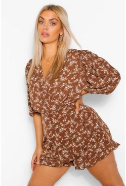 Tan Plus Ditsy Floral Puff Sleeve Ruffle Playsuit