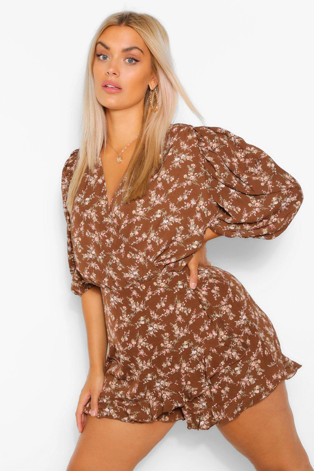 Plus Ditsy Floral Puff Sleeve Ruffle Playsuit 7