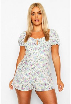 Ivory white Plus Floral Print Ruched Sweetheart Playsuit