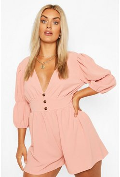 Blush Plus Button Detail Playsuit