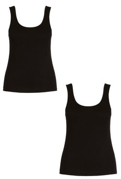 Black Plus 2 Pack Basic Wide Strap Vest