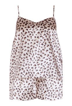 Ivory Plus Leopard Cami and Short Set
