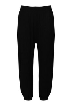 Black Plus Harem Side Split Trousers
