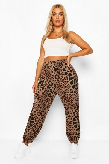 Brown Plus Leopard Harem Trousers