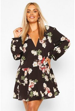 Black Plus Floral Tiered Woven Smock Dress