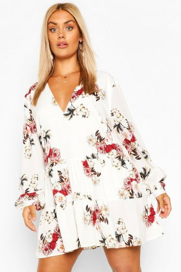 Ivory white Plus Floral Tiered Woven Smock Dress