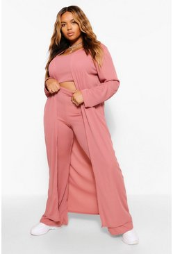 Plus Rib Knit Longline Cardigan, Rose