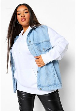 Mid blue blue Plus Denim Sleeveless Denim Jacket