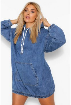 Mid blue blue Plus Hooded Denim Pullover Dress