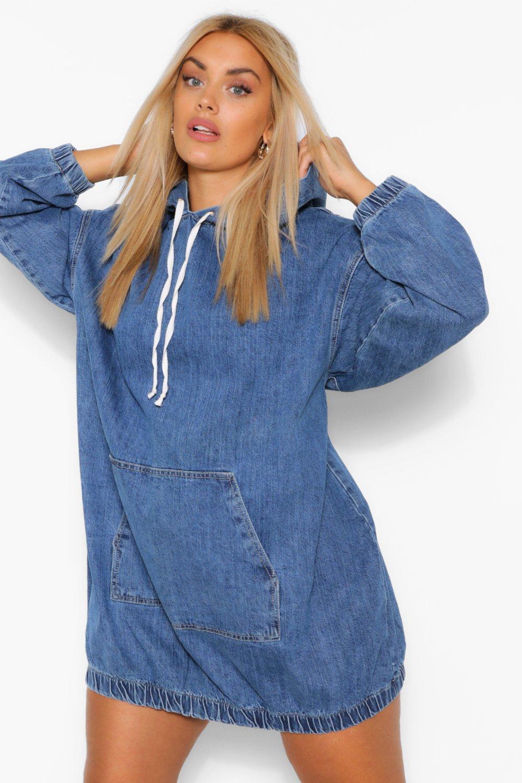 Plus Hooded Denim Pullover Dress 3