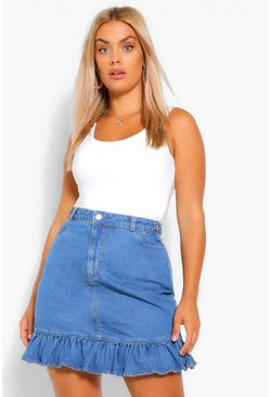 Mid blue blue Plus Denim Frill Hem Skirt