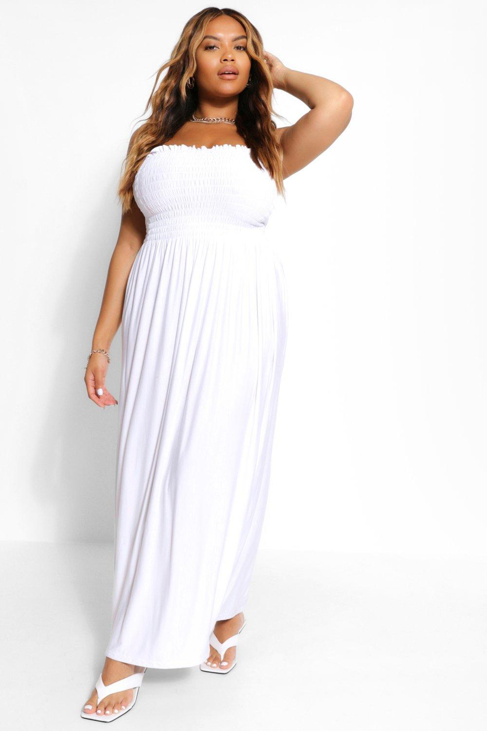Plus Shirring Bandeau Beach Midi Dress 6