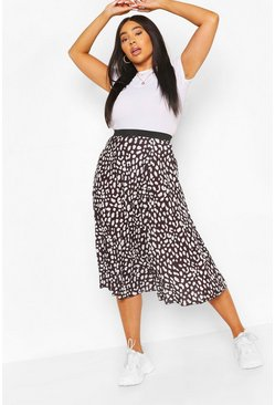 Black Plus Pastel Leopard Pleated Midi Skirt