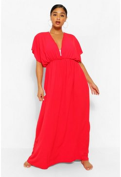 Red Plus Plunge Beach Maxi Dress