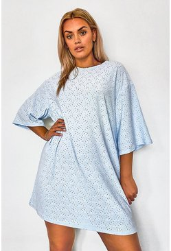 Sky blue Plus Broderie Super Oversized T-Shirt Dress