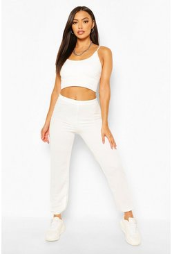 Ivory white Petite Casual Jogger