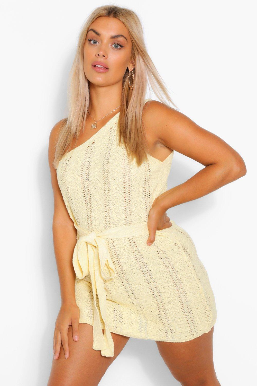Plus One Shoulder Crochet Beach Dress 7