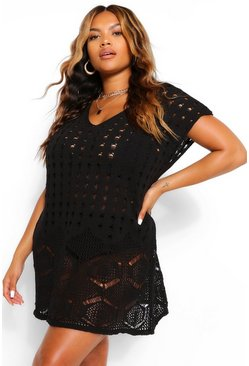 Black Plus Sleeveless Crochet Beach Dress