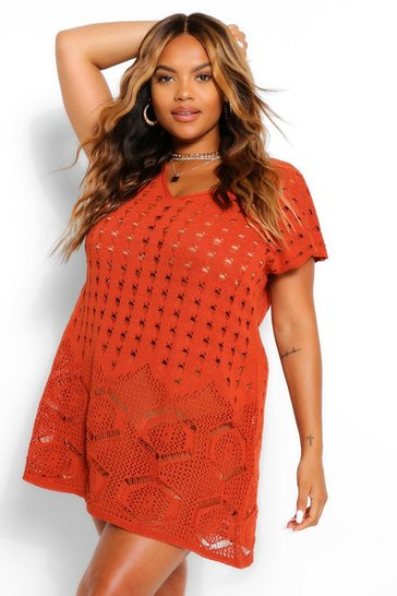 Rust Plus Sleeveless Crochet Beach Dress