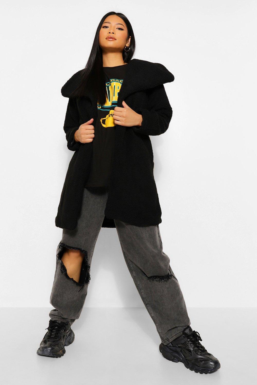 Teddy Bear Coats Petite Teddy Faux Fur Midi Coat