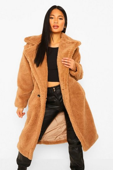 Caramel beige Petite Teddy Faux Fur Pocket Detail Maxi Coat