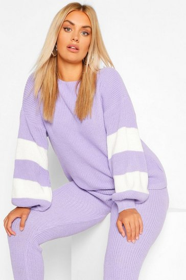 Lilac purple Plus Balloon Sleeve Stripe Knitted Lounge Set