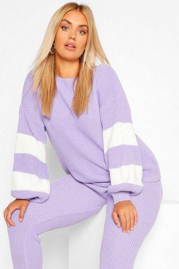 Lilac purple Plus Balloon Sleeve Stripe Knit Loungewear Set