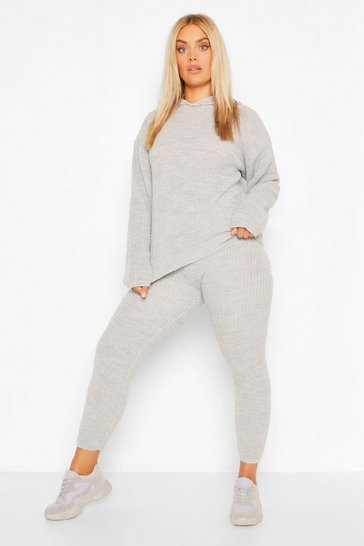 Grey Plus Hooded Knitted Lounge Set