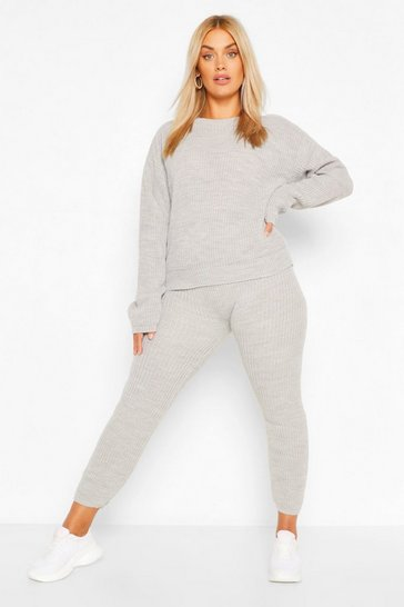 Grey Plus Slouchy Knitted Lounge Set