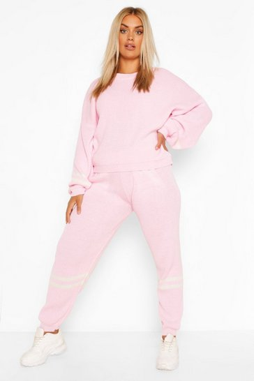 Pink Plus Stripe Knitted Lounge Set