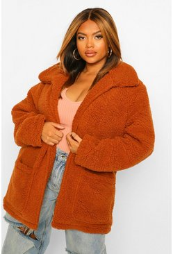 Ginger orange Plus Korte Faux Fur Teddy Jas