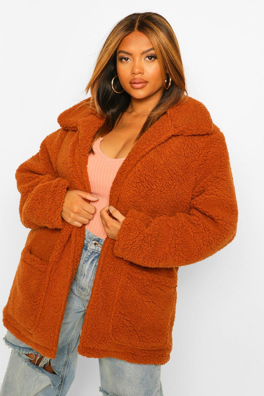 COATS & JACKETS Plus Faux Teddy Fur Short Jacket