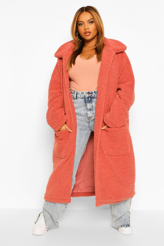 COATS & JACKETS Plus Faux Teddy Fur Maxi Length Coat