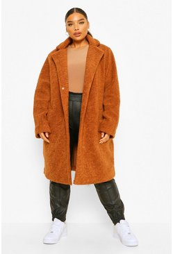 Ginger orange Plus Faux Teddy Fur Mid Length Duster