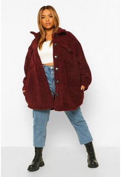 Wine red Plus Teddy Fur Oversized Shacket Trucker