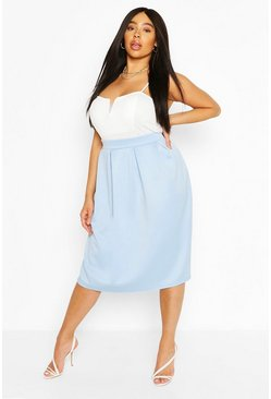 Pale blue blue Plus Scuba Pleated Midi Skirt