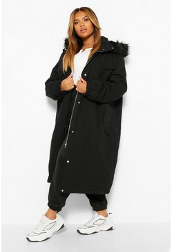 Black PLUS Longline Faux Fur Trim Parka