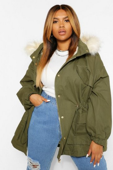 Khaki PLUS Faux Fur Lined Hooded Parka