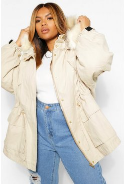 Sand beige PLUS Faux Fur Lined Hooded Parka