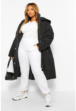 Black PLUS Longline Hooded Puffer Coat