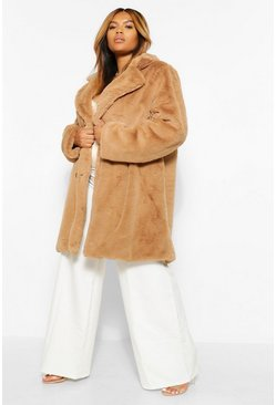 Camel beige PLUS Double Breasted Faux Fur Coat